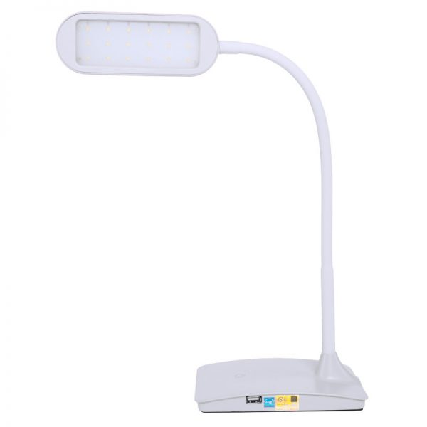 TW Lighting IVY LED Computer Desk Lamp With USB Port White
