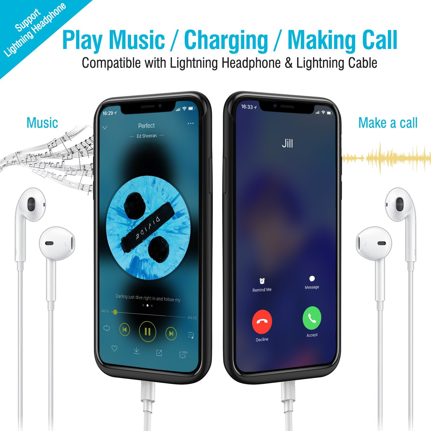 iPhone X Battery Case, 6000mAh Rechargeable Charging Case Supports ...