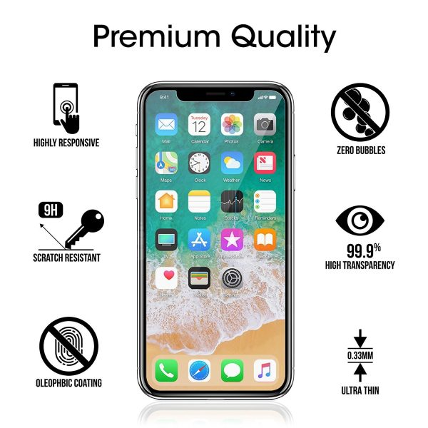 iPhone X Screen Protector Glass (3-Pack), amFilm iPhone X Tempered Glass Screen Protector with Easy Installation Tray for Apple iPhone X / iPhone 10 (3-Pack)