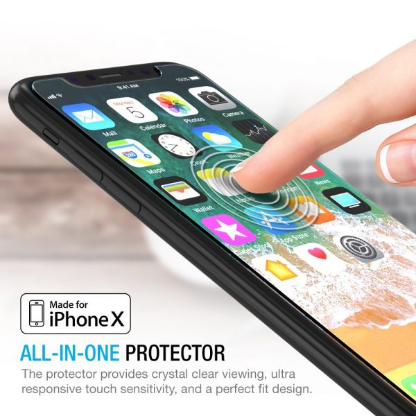 [3 PACK] THIN IS IN - World's thinnest (0.25mm) tempered glass screen protector for iPhone X (2017) is 100% touch accurate and compatible with 3D Touch. Protects your screen from scratches and can absorb impact! [MUST READ: Due to product manual and packaging being created prior to the name of the iPhone X being announced, product materials may incorrectly refer to the product working for iPhone 8 instead of iPhone X. This product is specifically designed for iPhone X / 10.] OPEN EDGE DESIGN - The Maxboost Glass Screen Protector fully covers iPhone X's newest display, and is case-friendly due to the open edge design. Wear your favorite case and keep your screen protected at the same time! FINGERPRINT-LESS - Coated with hydrophobic and oleophobic clear layers, the glass protects against sweat and oil residue from fingerprints, keeping your phone screen pristine all day long. EASY TO INSTALL - Includes worry-free installation frame to provide accurate installation. Also, online installation tutorials on how to correctly install your screen protector are available. Visit our website to learn more. LIFETIME WARRANTY - No-hassle warranty provides easy lifetime protection for your tempered glass screen protector.
