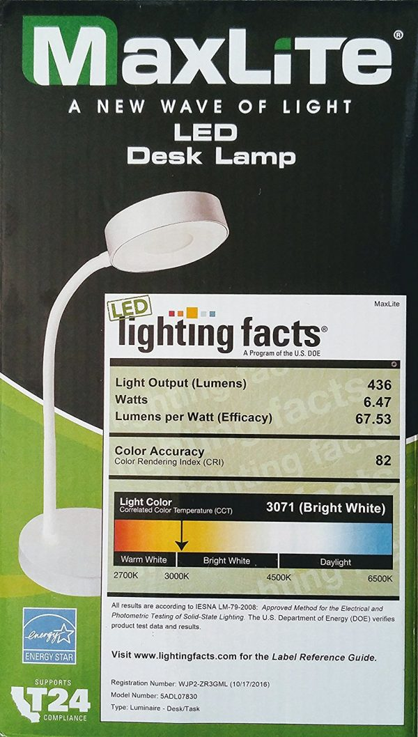 MaxLite LED Desk Lamp,Office Desk with Flexible Neck, Green Energy Saving, Modern Style