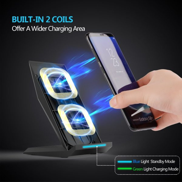 Fast Wireless Charger, NANAMI Qi Charger Wireless Charging Stand for Samsung Note8, iPhone 8/8 Plus, iPhone X, Galaxy S9 S9 Plus S8 S8 Plus S7 S7 Edge Note 5 S6 Edge Plus and All Qi-Enabled Devices