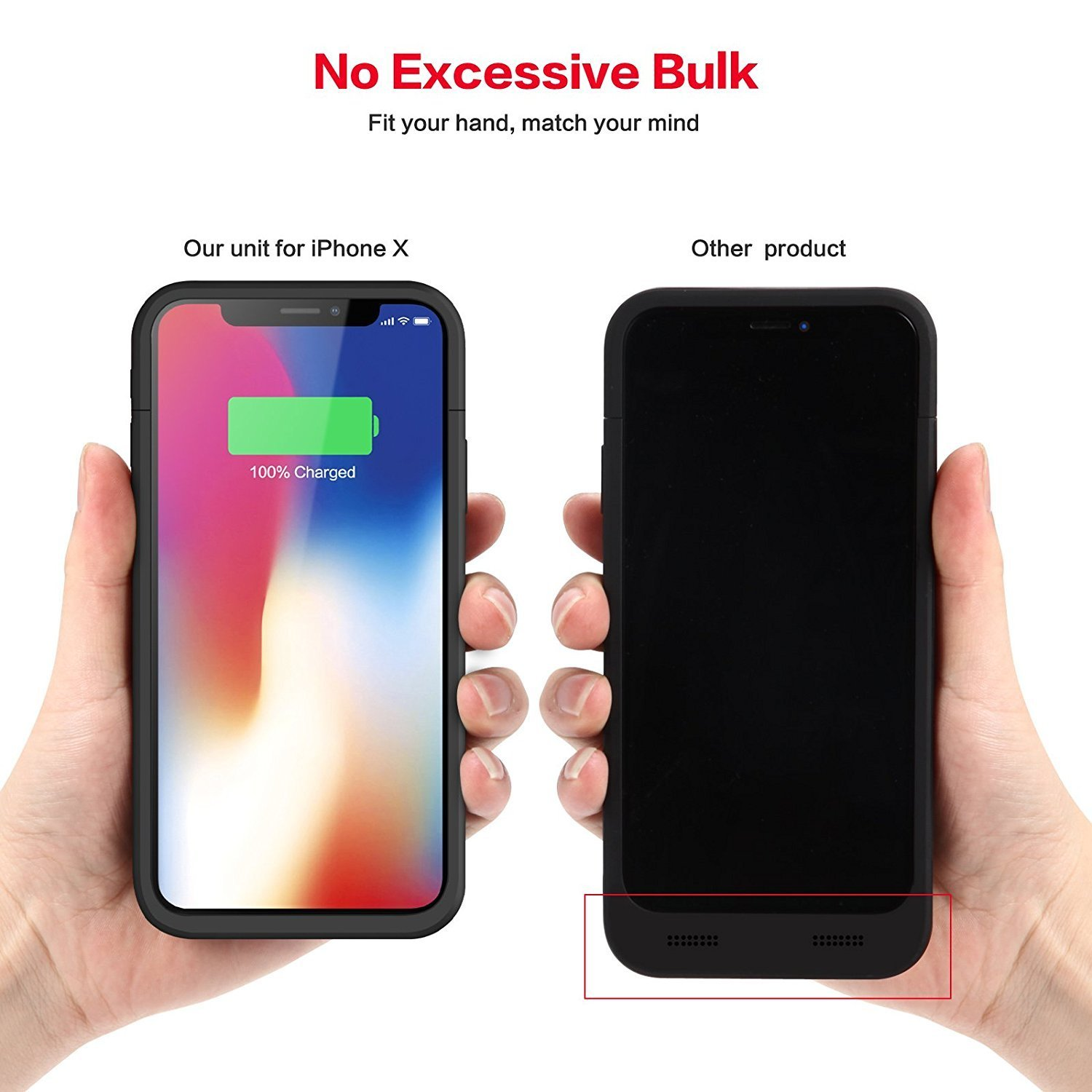 best service d5365 c3eec iZam iPhone X/XS Battery Case, 5200mAh Rechargeable Portable, iZam Power  Charging Case for iPhone X/XS Case Ultra Thin and light weight (Black)