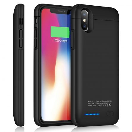 iZam iPhone X/XS Battery Case, 5200mAh Rechargeable Portable, iZam Power Charging Case for iPhone X/XS Case Ultra Thin and light weight (Black)