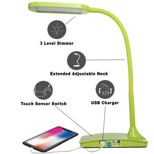 TW Lighting IVY-40WT The IVY LED Desk Lamp with USB Port-3-Way-Touch-Switch