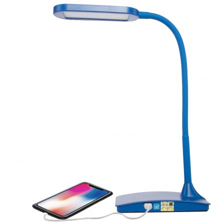 TW Lighting IVY-40WT LED Desk Lamp with USB Port 3-Way Touch Switch EnergyStar Blue